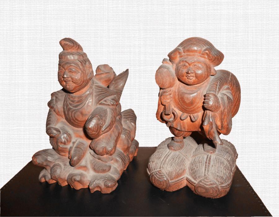 恵比寿様・大黒様(木彫り)