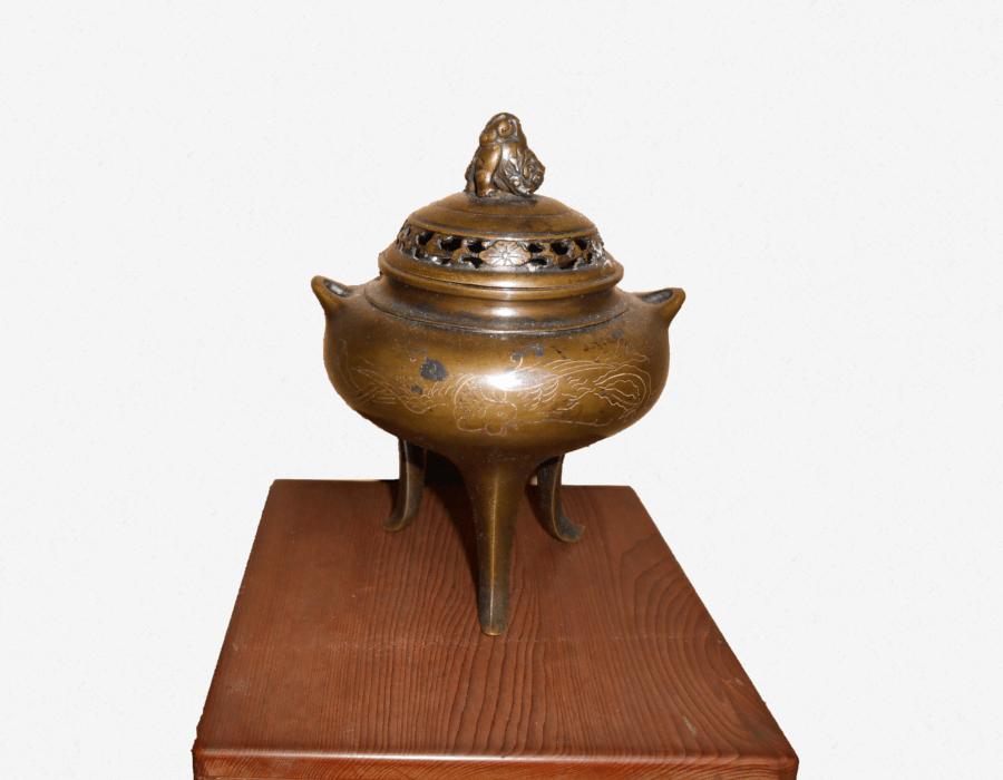 銅香炉(三足・鳳凰図)